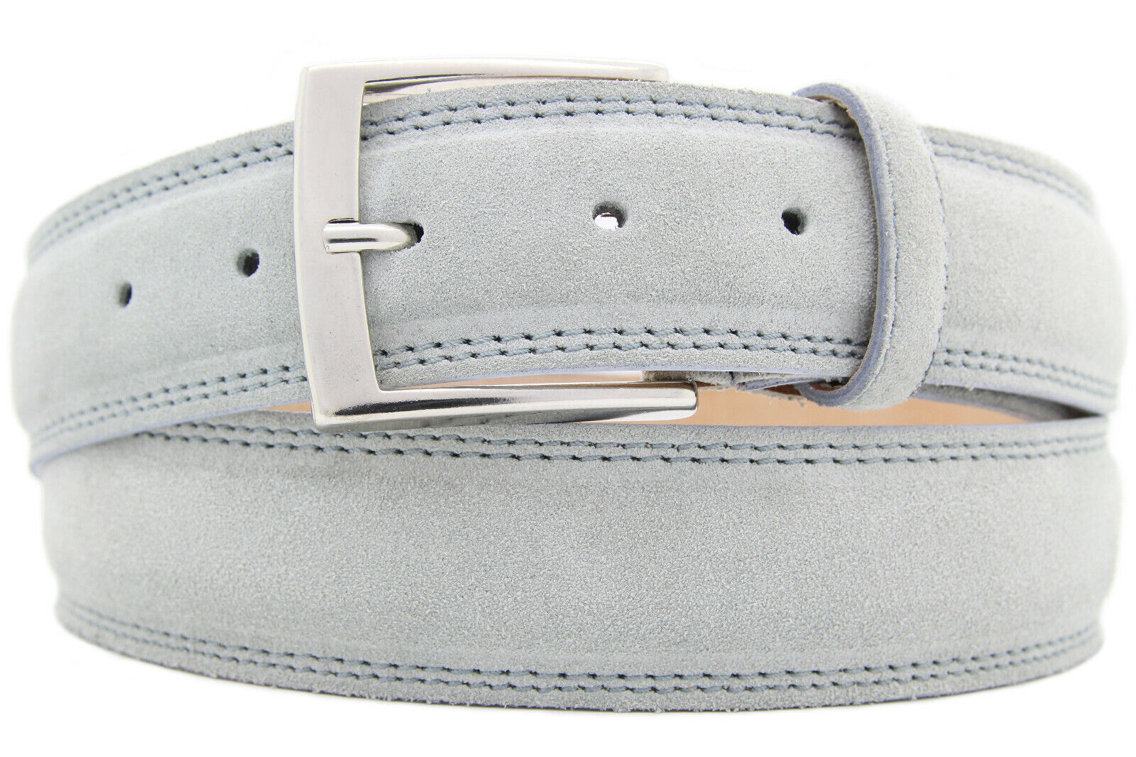 Italian Suede Belt Mens Womens Suede Belt Light Grey 4cm Wide