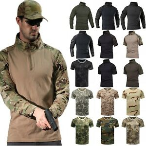 Men-039-s-Military-Tactical-Combat-T-Shirt-Army-Quick-Dry-Hiking-Moisture-Camo-Tops