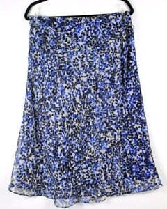 Cato-Women-039-s-Floral-Print-Lined-Tie-Side-Wrap-Skirt-Royal-Blue-Size-Large