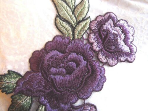 "10/""  EMBROIDERED **PURPLE ROSE** Applique EASY IRON-ON"