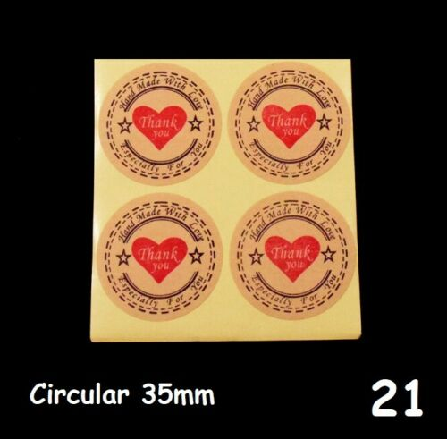 26 DESIGNS Thank You Handmade Handmade with Love Sticker Labels Crafts Seal 1335