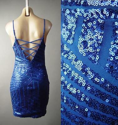 Art Deco Blue Sequin Strappy Back Vtg-y 20s Slip Cocktail Party 179 mv Dress