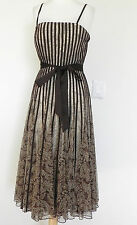 JS Collections Sleeveless Dress  Mesh A-Line Size 8 Brown Fit-Flared