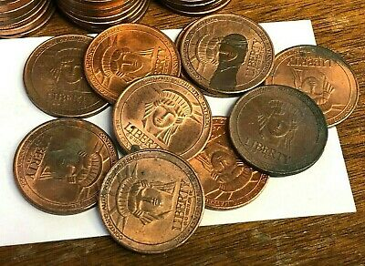 """10 x 1986 SEARS 100th Annv STATUE OF LIBERTY /""""Authentic Material/"""" Copper Medals"""