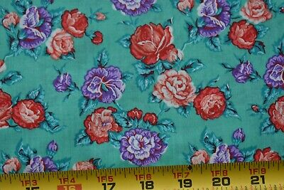 Vintage Red Purple /& Blue Calico on Green Quilt Cotton Springs,P520 By 1//2 Yd