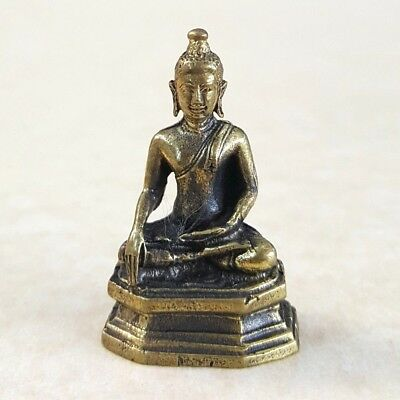Thai BUDDHA Sitting Amulet Statue Brass Magic Luck Protection Wealth Health