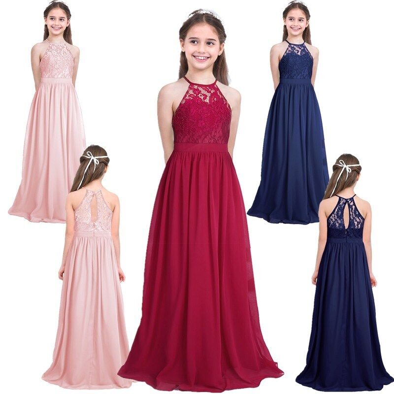 Kids Lace Flower Girl Dress Girls Wedding Pageant Formal Bridesmaid Long Gown