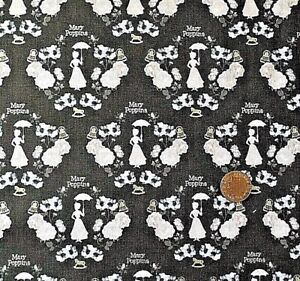 A-PINK-AND-GOLD-MARY-POPPINS-DESIGN-ON-GREY-100-COTTON-FABRIC-FQ