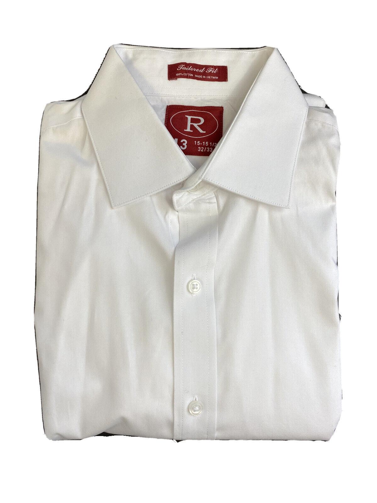 White Fitted Laydown Collar Tuxedo Shirt M 32/33 #20