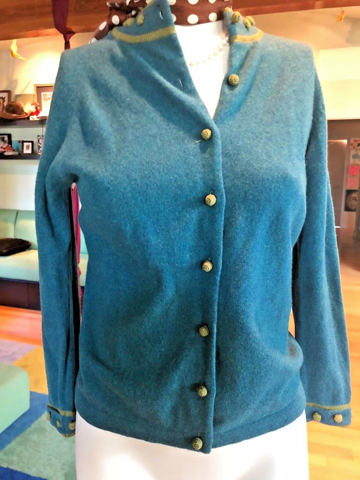 Vintage Wool Cardigan Heathered Teal Olive Green Sweater