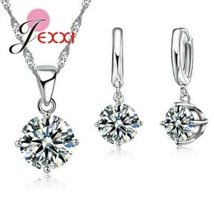 925-Sterling-Silver-Clear-Cubic-Zirconia-Necklace-Pendant-and-Earring-Set-UK