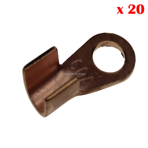 20x Copper Battery Eyelets Lug Copper Terminals Cable Bolt Open Barrel 60A Z2054