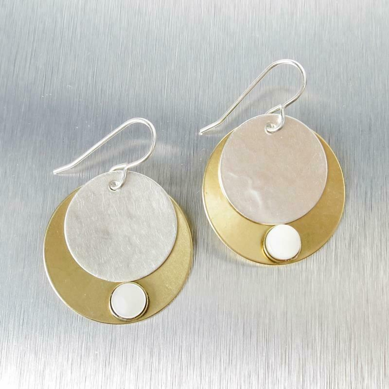 Marjorie Baer Layered Disc with Mother-of-Pearl Cabochon Hook Earrings Unique