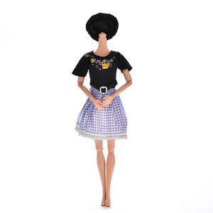 2-Pcs-set-Black-and-Blue-Grid-Dresses-for-s-Princess-Dolls-with-Hat-Pip-TB