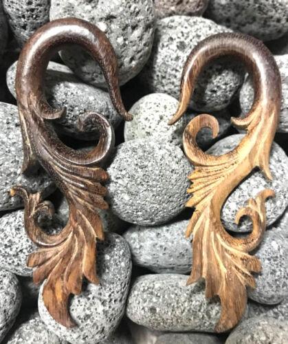 PAIR LONG SONO WOOD TRIBAL SPIRALS EXPANDERS GAUGES PLUGS EARRINGS GAUGE