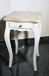 Table-Appoint-Tiroir-Bois-Acajou-Style-Provencal-Retro-Vintage-Blanc-Patine