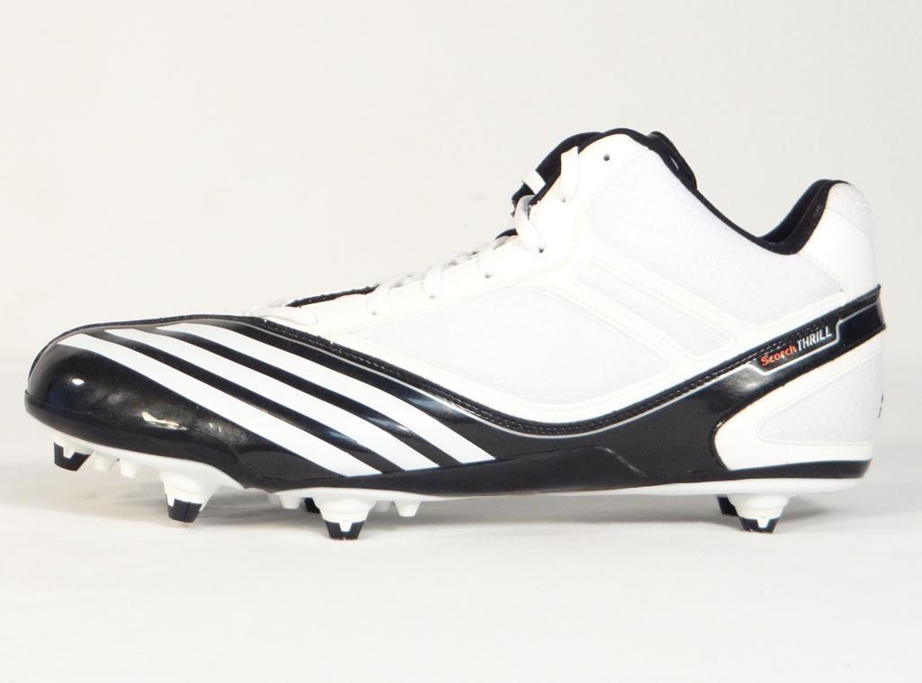 Adidas Scorch Thrill Mid D White & Black Football Cleats Shoes Mens NWT