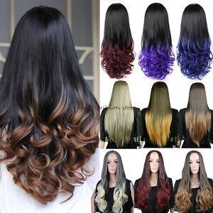 Women Long 3 4 Full Head Wig Fall Clip In Hair Piece Half Natural ... 28d9c442fc