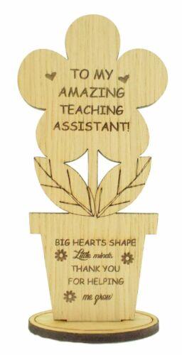 Gift for Teaching Assistant Chêne en Bois Fleur THANK YOU Cadeau Laissant période scolaire