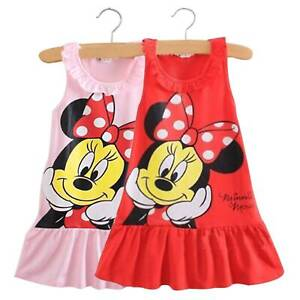 Baby-Girls-Kids-Minnie-Mouse-Mini-Dress-Sleeveless-Casual-Party-Sundress-0-5Y