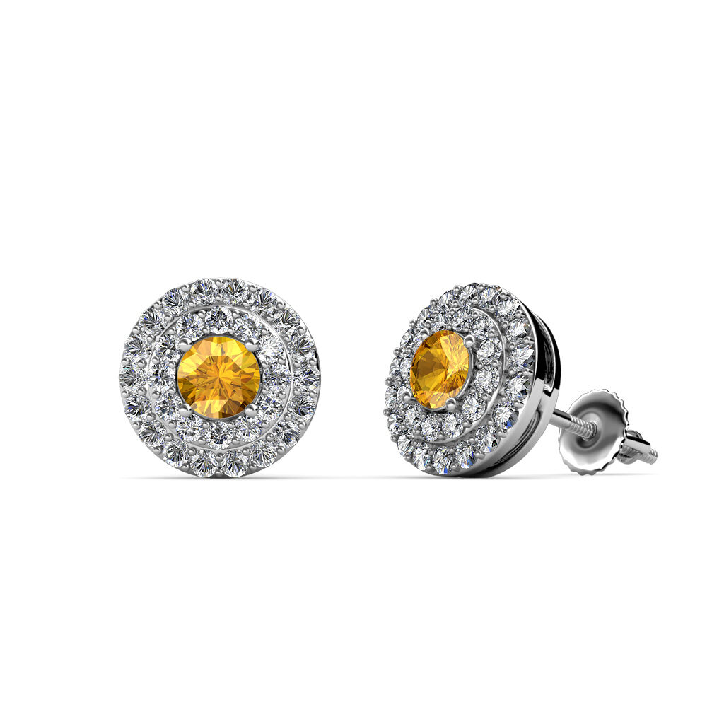 Citrine and Diamond Double Halo Stud Earrings 0.80 ctw 14K White gold JP 84553