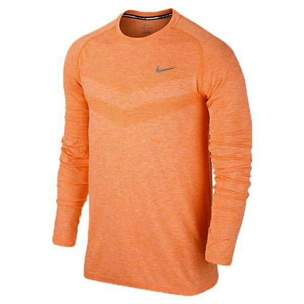 Nike Dri-Fit Knit Long  Sleeve Running Shirt 596177-891 orange Reflective Men XL  best quality