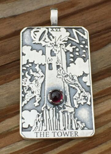 Tower Tarot Card Pendant .925 Sterling Silver w// Genuine Garnet Remove Obstacles