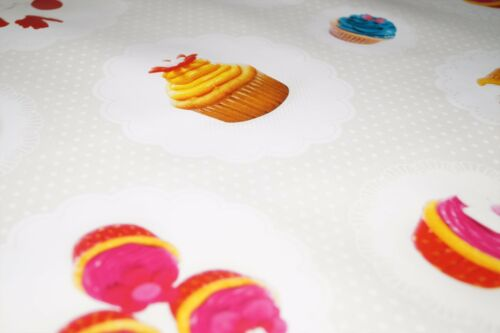 Ivory Dotted Cupcakes PVC Tablecloth Vinyl Oilcloth Kitchen Dining Table