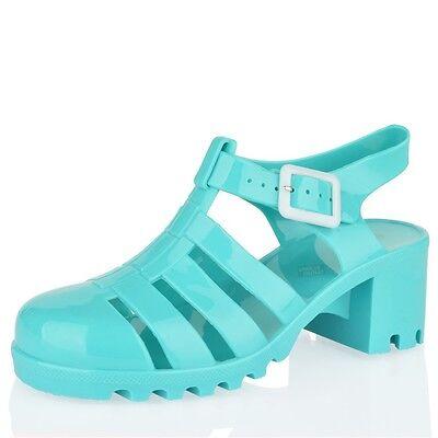 Mädchen kinder gummi sandalen blockabsatz riemchen sommer strand urlaub