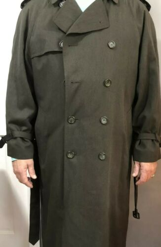 London Fog Olive Green Mens Trench Coat Zip Lined