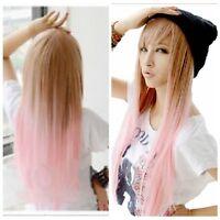 Fashion Women Long Straight Pink Brown Lolita Wig Heat Resistant Hair Wig Wigs