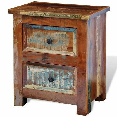 Details about  New Deal Nightstand with 2 Drawers Solid Reclaimed Wood