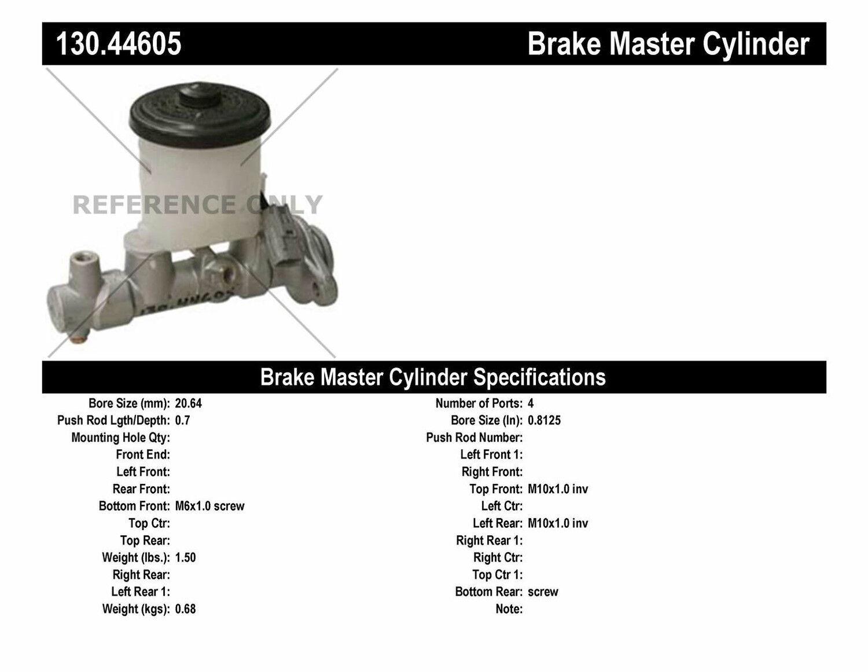 Centric Parts 130.44605 Brake Master Cylinder