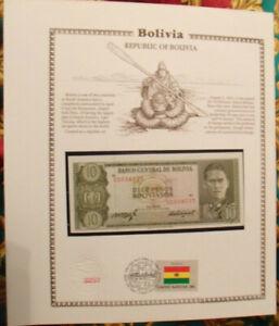 Bolivia-Banknote-10-Pesos-1962-P-154-UNC-w-ith-UN-FDI-FLAG-STAMP-prefix-U