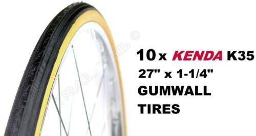 "Ten Pack Kenda K35 Gumwall 27/"" x 1-1//4/"" Road Bike Tires Wire Bead Classic 10"