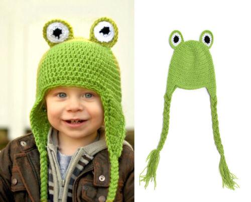 Baby Green Frog Winter Spring Warm Beanie Crochet Knit Long Tail Hat Cap 0-12M