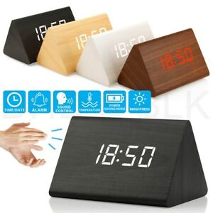 New-Modern-Wooden-Wood-Digital-LED-Desk-Alarm-Clock-Thermometer-Timer-Calendar
