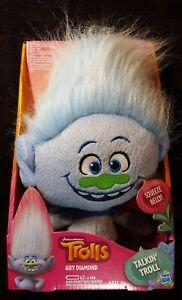 DreamWorks Trolls GUY DIAMOND Talkin' TROLL  ~ Hasbro ~ Plush Squeeze Belly Doll