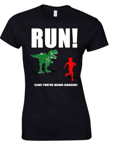RUN Like You/'re Being Chased T-Rex Dinosaur Chasing Gym Ladies Tshirt Tee  AF23