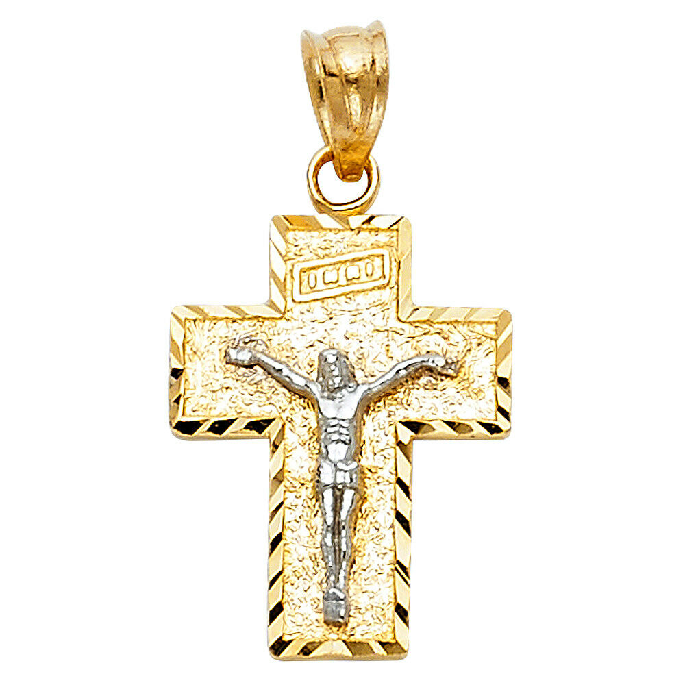 Free Chain Real 14k Yellow White gold Jesus Cross Charm Pendant Vintage INRI