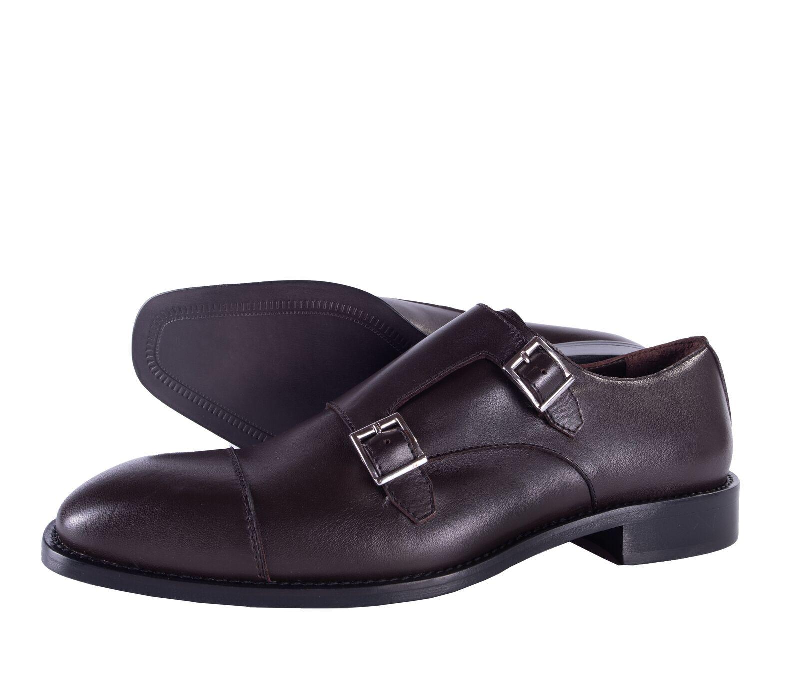 BcourirO MAGLI chaussures double Monkstrap en Cuir Marron Foncé Luxe Italie 44 11 US