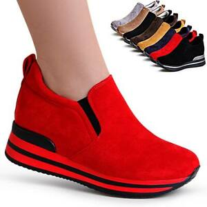 Scarpe-da-Donna-Plateau-Sneaker-Scarpe-Basse-Slipper-Camoscio-Zeppa