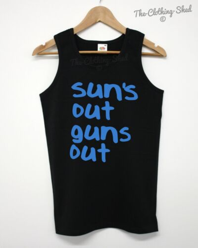 Suns Out Guns Out Vest Summer Jump Tank Top Street 22 Lads Men Funny Singlet