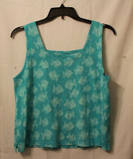 Pre-Owned FRESH PRODUCE Blue Tank Top Fish Pattern Summer SIZE XL