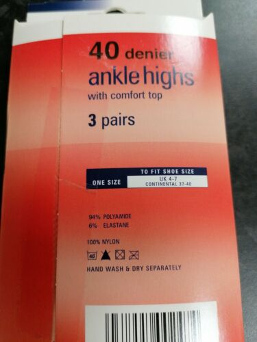 3 Pairs Ladies 40 Denier Ankle Highs Pop Socks with Comfort TopTudorose Size 4-7