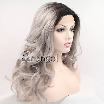 Long Wavy Gray Silver Grey Lace Front Wig Ombre Synthetic hair Full Women's Wigs