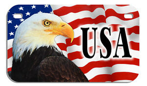 """USA Flag & Eagle Motorcycle Size License Plate 4"""" x 7"""" Personalize Any Text"""