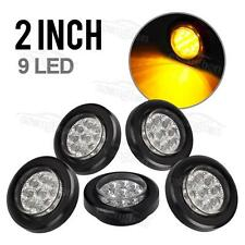 """5x 2"""" Clear/Amber LED Marker Light Cab Panel Light 9Diode Sealed Round w Grommet"""