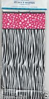 Zebra & Pink Diva Loot Bags Party Favor Bags Silver Ties Black White Pink