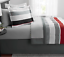 New 8 Piece King Size Comforter Set Red Grey Bedding With Sheets Bed Skirt